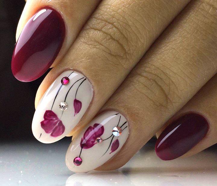 Цветы Бордовый маникюр: 100 модных идей дизайна ногтей