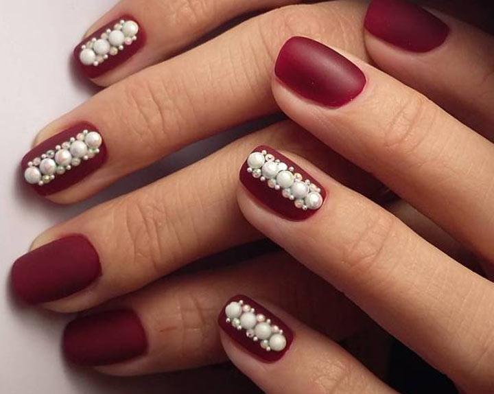 Жемчуг Бордовый маникюр: 100 модных идей дизайна ногтей