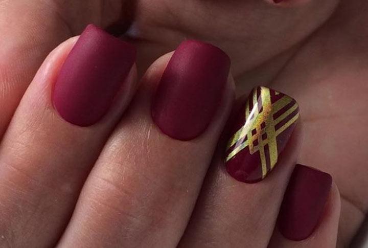 Бордовый маникюр: 100 модных идей дизайна ногтей