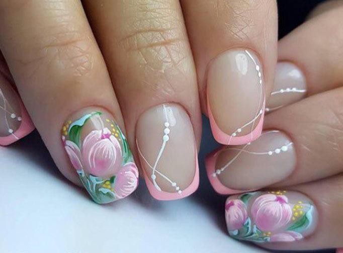Розовый френч и роспись цветами