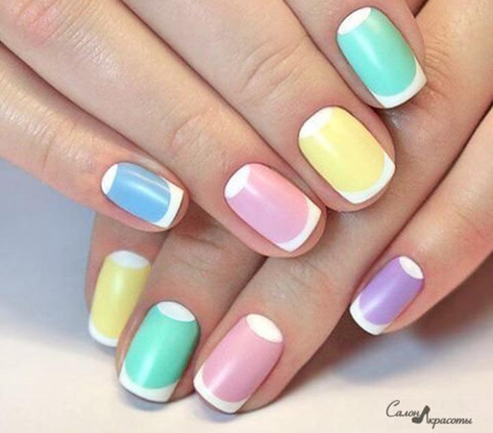 Лунный разноцветный маникюр Цветной френч на ногтях: модные варианты (ФОТО)