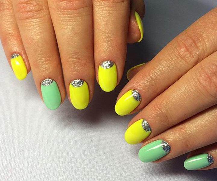 Лунный желто-зеленый дизайн ногтей