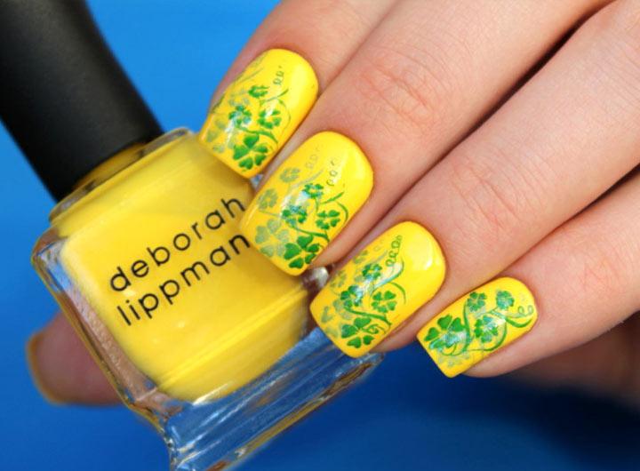 Рисунки на ногтях: желто-зеленый