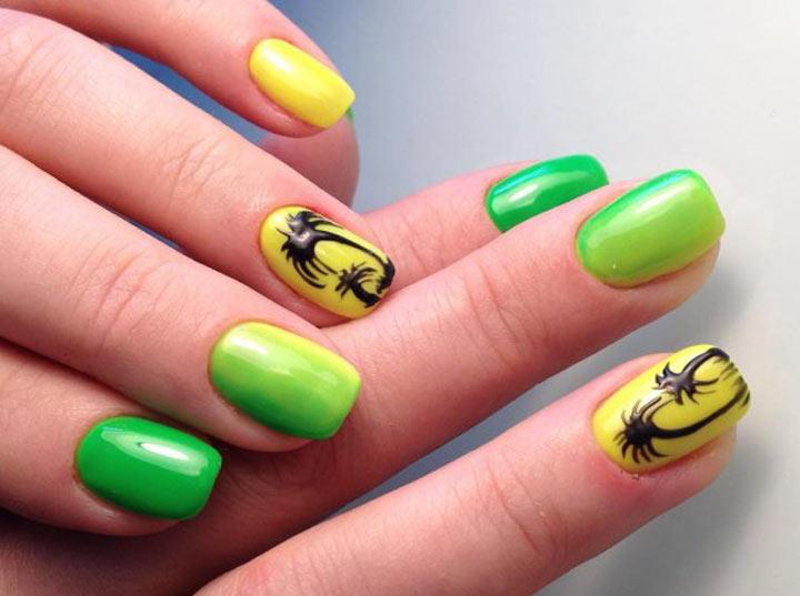 Желто-зеленые ногти с пальмой