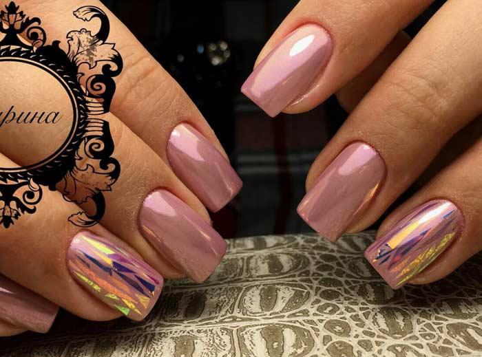 Втирка и битое стекло в дизайне ногтей