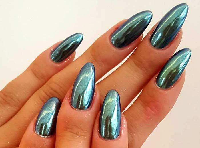 Длинные зеркальные ногти
