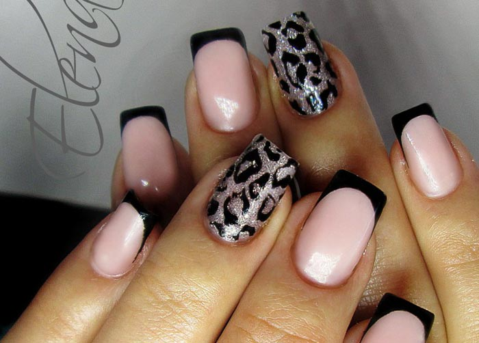 Леопардовый принт Черный френч на ногтях: 20 фото стильного маникюра