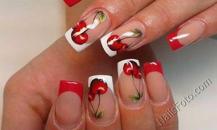 """Рисунок """"Сочные вишни"""" на ногтях с френчем"""