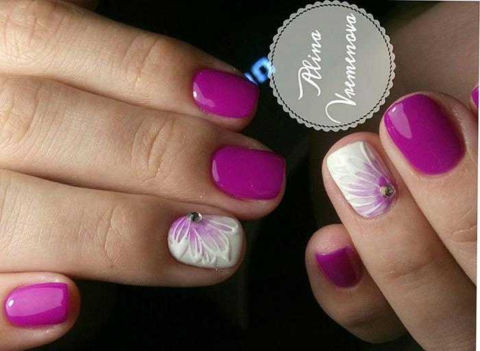 Маникюр шеллак на коротких ногтях