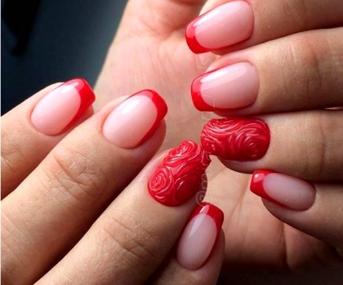 Красный френч с розами Маникюр на 14 февраля: красивые, романтичные идеи