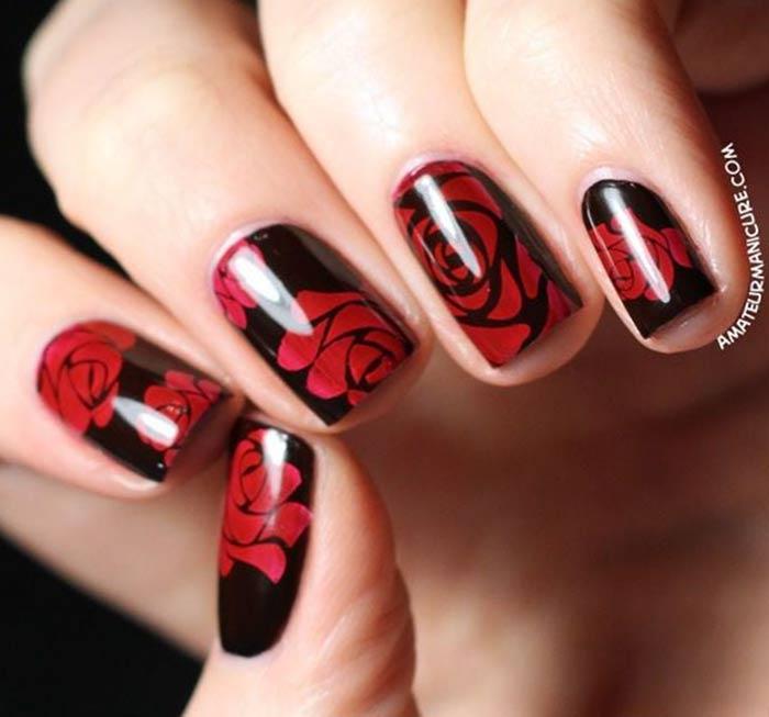Цветы на ногтях Маникюр на 14 февраля: красивые, романтичные идеи