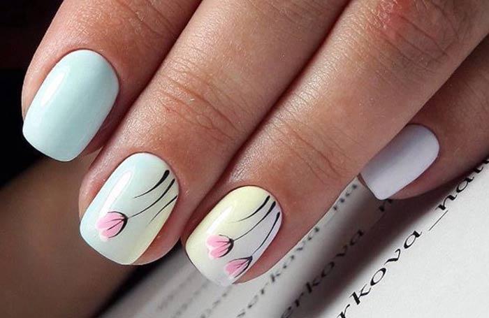 Тюльпаны на ногтях