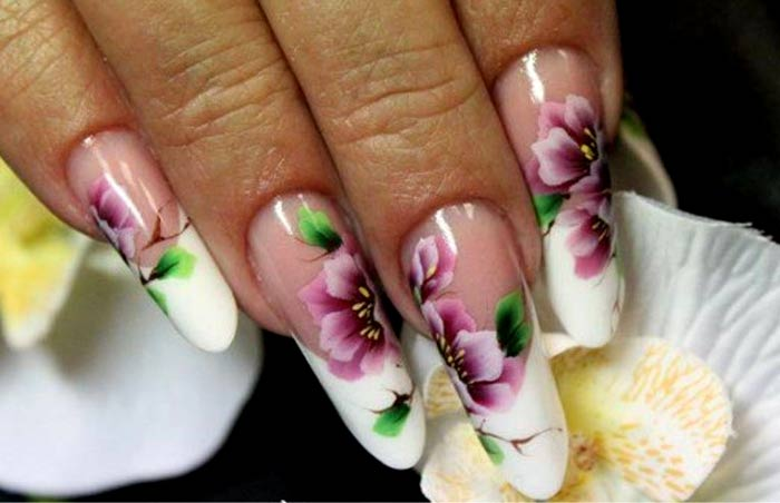 Длинные ногти роспись