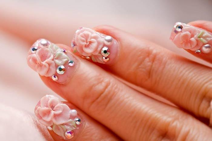 Лепка идеи весеннего дизайна ногтей