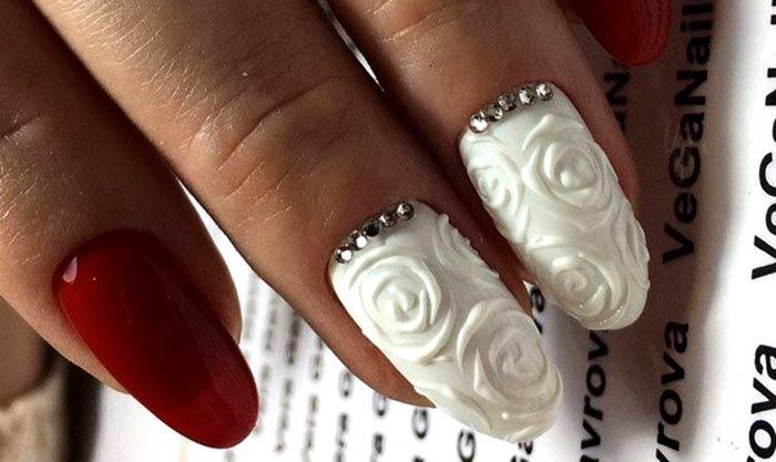 Объемные розы идеи весеннего дизайна ногтей