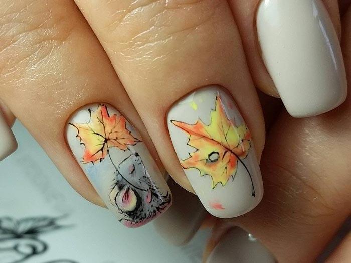 Рисуем листья на ногтях