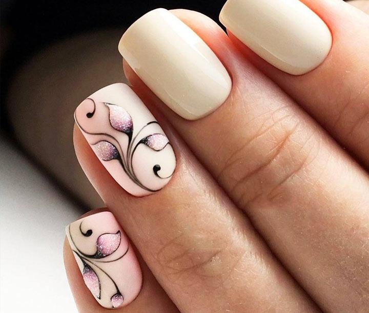 Нежные узоры на ногтях