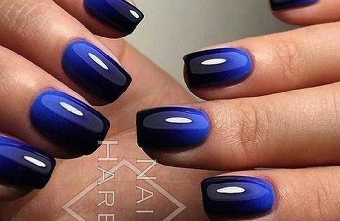 Омбре синий и черный