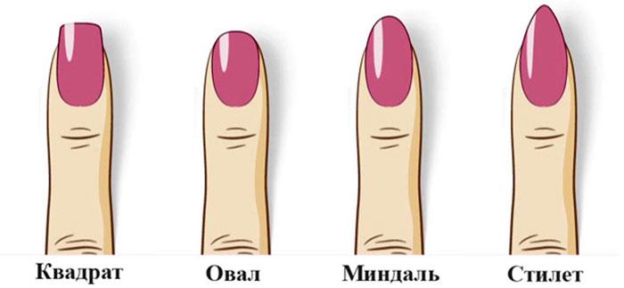 Варианты формы ногтей