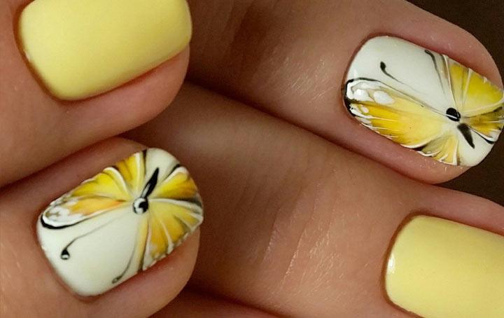 Маникюр весна-2018 с бабочками