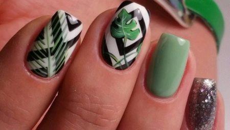 Рисунок листьев на ногтях пошагово