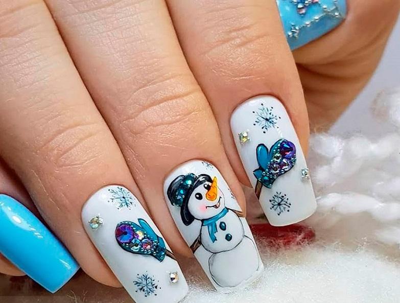 маникюр на новый год снеговик